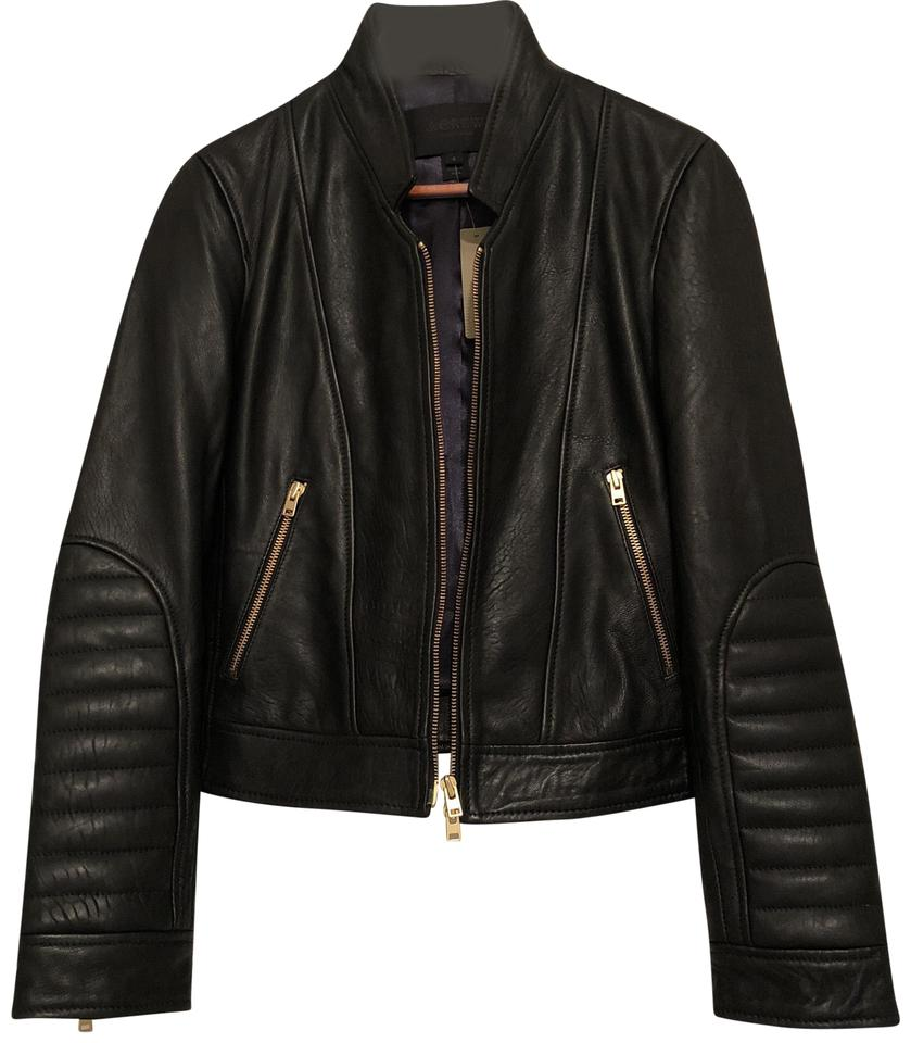 22b396e89 J.Crew Black Collection Genuine Leather Standing Collar Leather Style B9871  Jacket Size 4 (S) 46% off retail