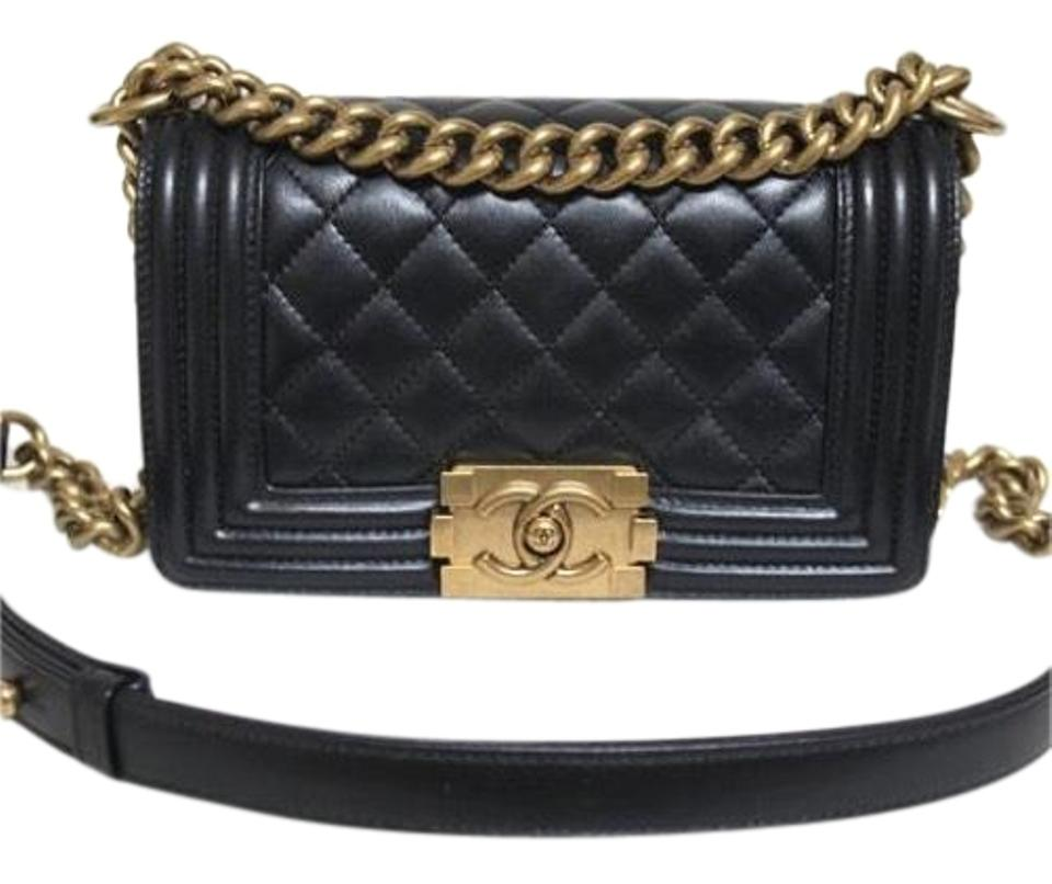 5996921a116e Chanel Boy Small Black Aged Gold Hardware Calfskin Leather Shoulder ...
