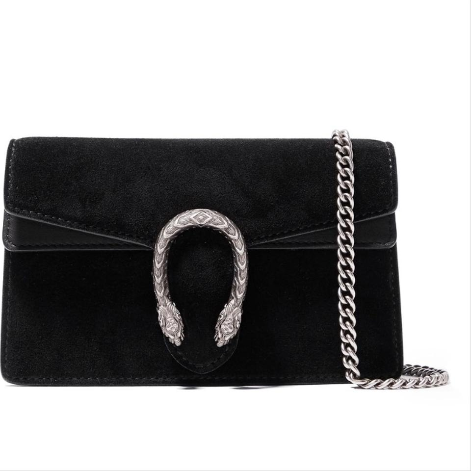 f263b51e70d3 Gucci Dionysus Gucci's Super Mini Black Suede Leather Cross Body Bag ...