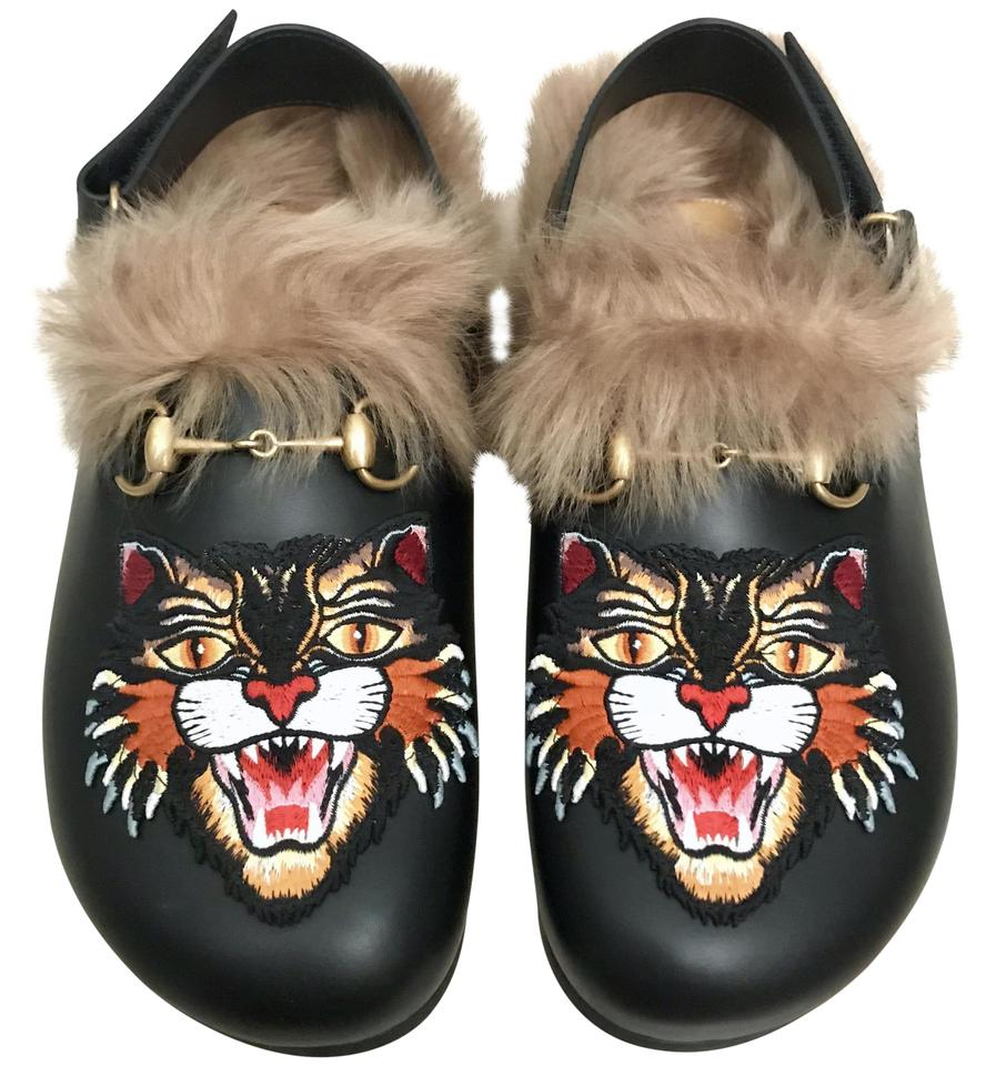 c534df2ba Gucci Black Shearling Fur River Slippers Angry Cat Princetown Mules ...