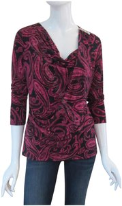 MICHAEL Michael Kors Cowl Neck Paisley Print Silver Bar 3/4-seeves Pullover Top Black/Radiant-Pink