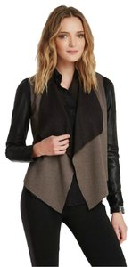 Stella & Jamie Rio Waterfall Draping Daphne Browell Gray Leather Jacket