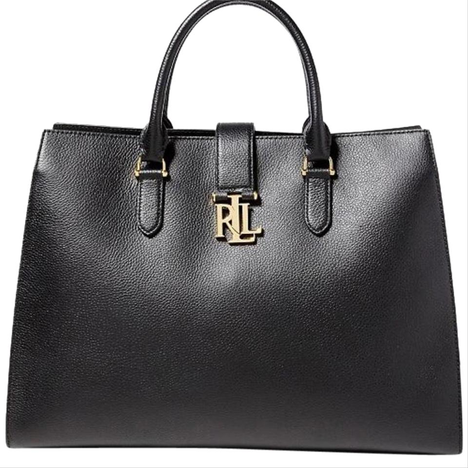 aaff7eeee17b Lauren Ralph Lauren Carrington Brigitte Tote Black Leather Satchel ...