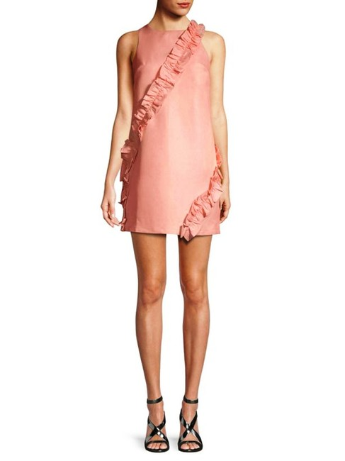 Item - Pink Frill-trimmed Ruffle Shift M Short Casual Dress Size 8 (M)
