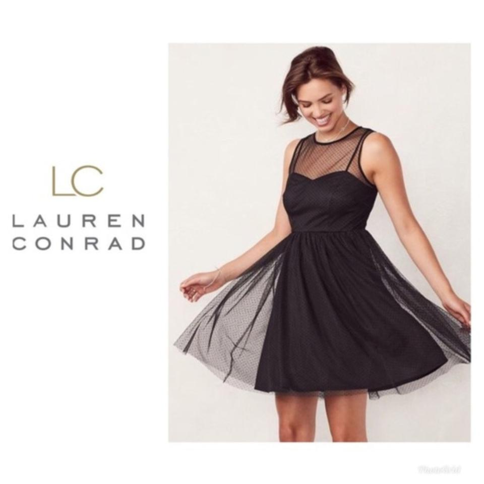 fe30a10c48c99 LC Lauren Conrad Black Sweetheart Tulle Fit & Flare Mid-length Night Out  Dress Size 4 (S) 30% off retail