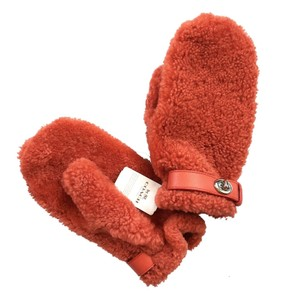 Coach New York Orange Sheep Shearling Leather Trimmed Wool Lined Mittens M/L