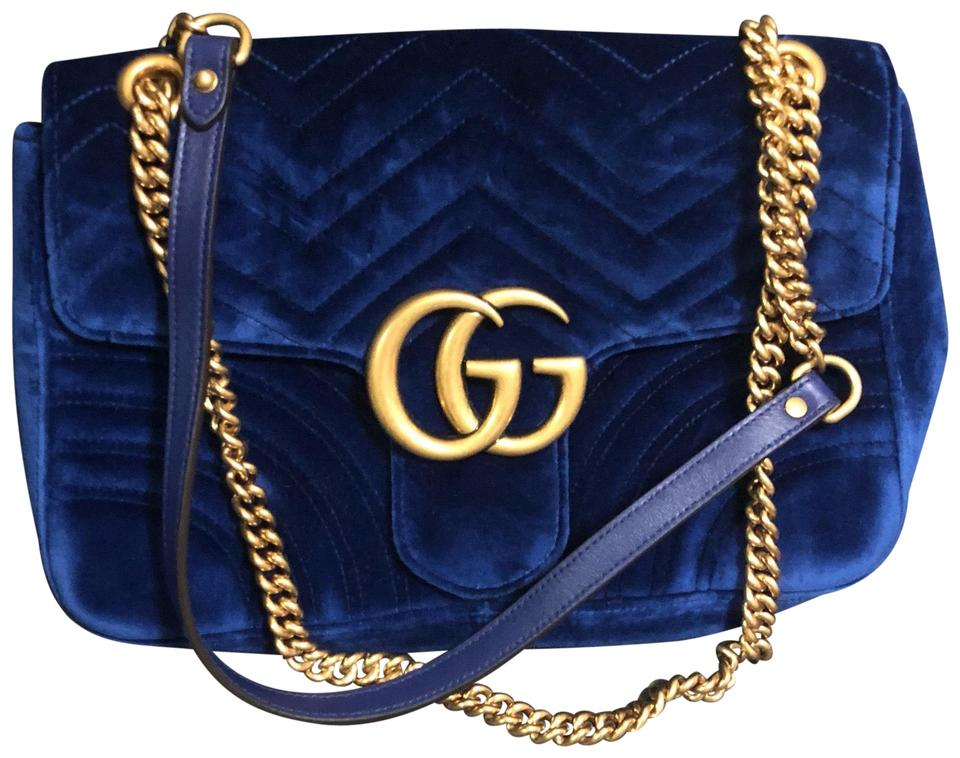 d491b232718a Gucci Marmont Medium Cobalt Blue Velvet Shoulder Bag - Tradesy