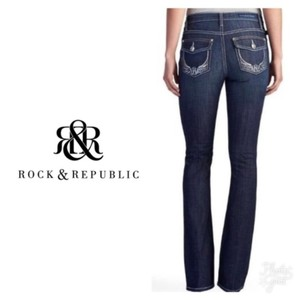 Rock & Republic Dark Wash Embroidered Zipper Fly Embellished Boot Cut Jeans-Dark Rinse
