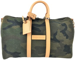 Louis Vuitton x Supreme Keepall Bandouliene GREEN Travel Bag