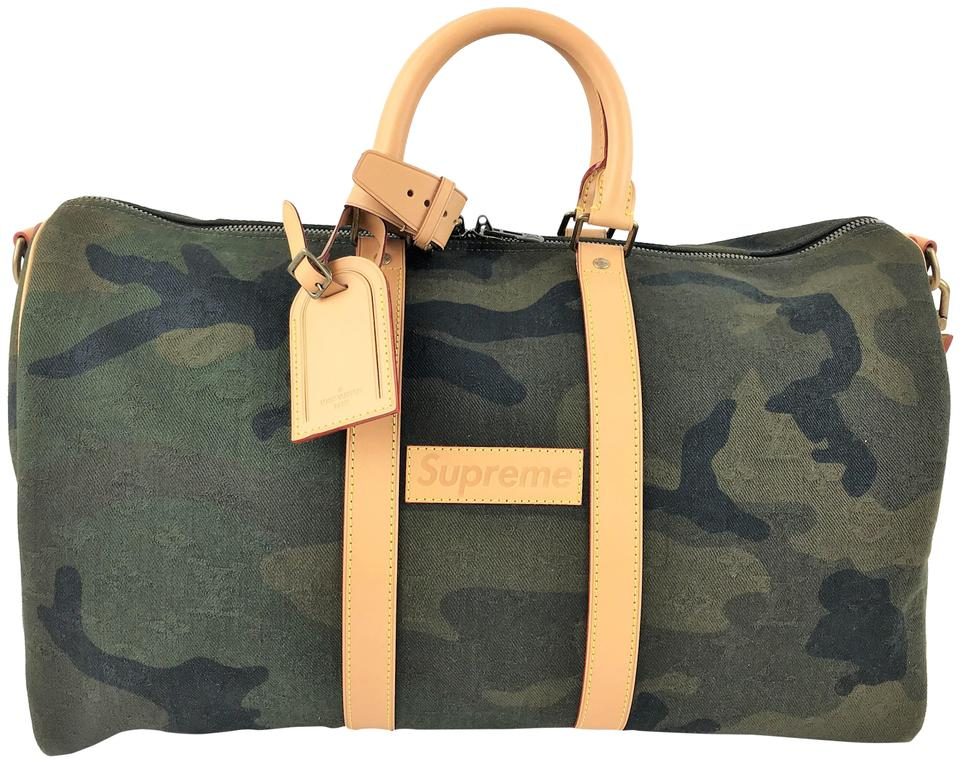 e97a72c906ac Louis Vuitton x Supreme Keepall Bandouliere Monogram Camo 45 Green ...