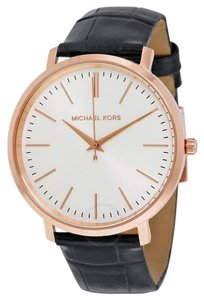 Michael kor Brand New Men's Jaryn Black Leather Three-Hand Watch MK2472