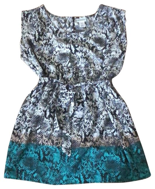 Item - Black Tan Teal and White Ombré Snakeskin Maternity Top Size 6 (S)