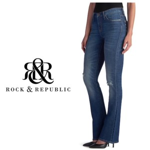 Rock & Republic Medium Wash 5-pocket Ripped Embossed Boot Cut Jeans-Distressed