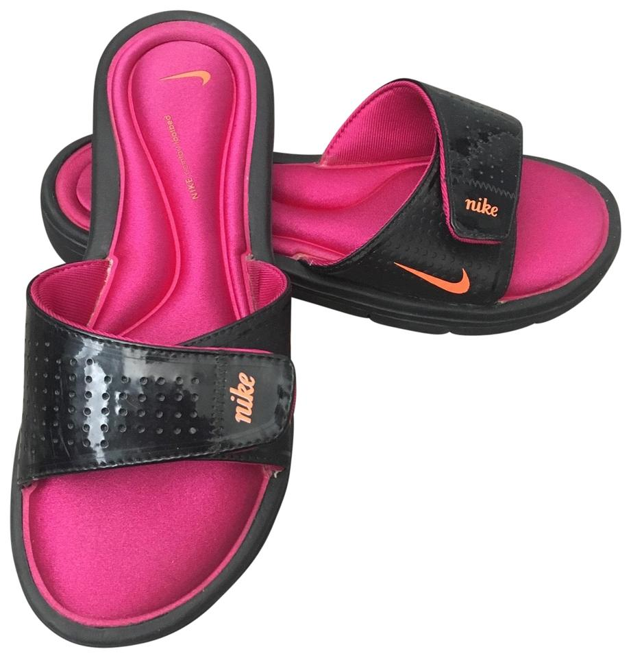 704309e97 Nike Black Pink Orange Comfort Slides Sandals Size US 8 Regular (M ...