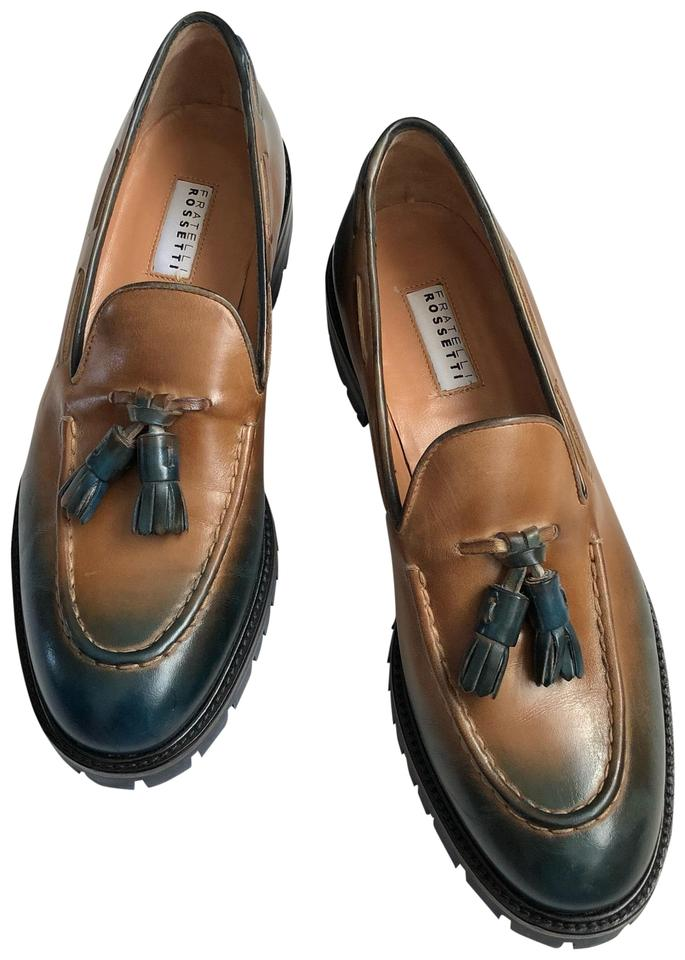 Fratelli Rossetti Blue Green Leather Loafers Flats Size EU 37 ... a1863a9f34ee7