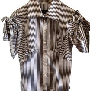 Vivienne Westwood Tie Blouse Stripes 3/4 Sleeves Fitted Button Down Shirt Black