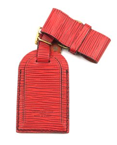 Louis Vuitton RARE Red epi Leather Luggage Tag with loop keepall alma speedy