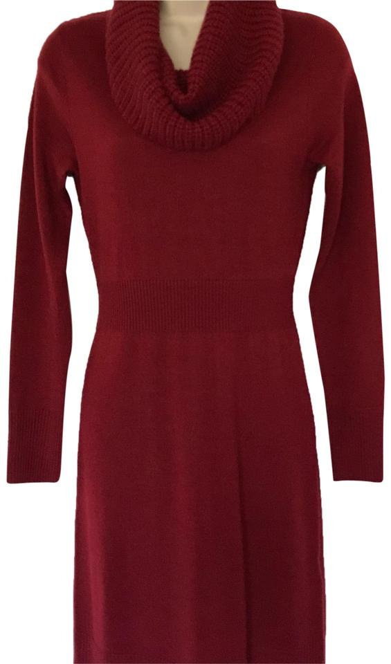 Apt. 9 Burgundy Sweater Mid-length Short Casual Dress Size 0 (XS ... 03334d034