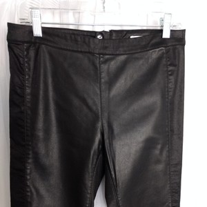 "H&M Skinny Pants Black, Rise 9"", Inseam 27.5"", Length 36.5"", Waist 16"", no give. Cotton/Poly/Elastin. Extra button for zipper located in back of pants for a smooth no ruffled finish. The pants have a beautiful shimmer on both the faux leather and other material."