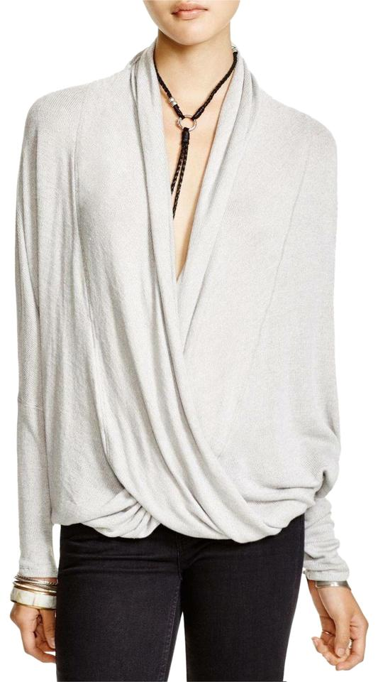 0c373aaec725 Free People Oatmeal Sheila Hacci Draped Front Blouse Size Petite 4 ...