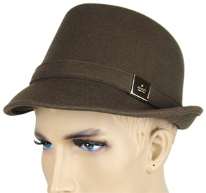 Gucci New Brown Wool Fedora Hat w/Light Gold Plaque Logo Size L 322289 2366