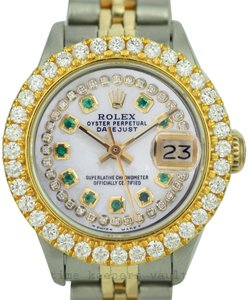 Rolex Rolex Lady Datejust 1.60CTW Bezel Diamond Dial with Emerald 26mm Watch