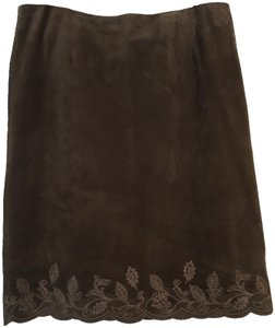Lord & Taylor Suede Pencil Brown Embroidered Skirt Tan