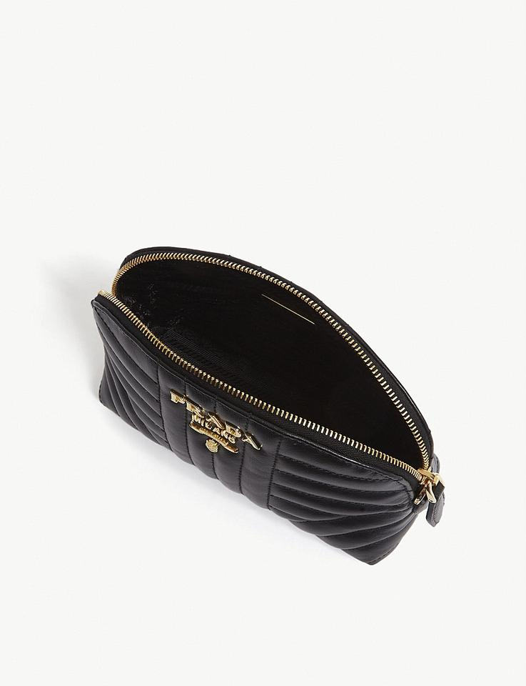 f587bb76ee52 Prada Logo Quilted Pouch Black Leather Wristlet - Tradesy