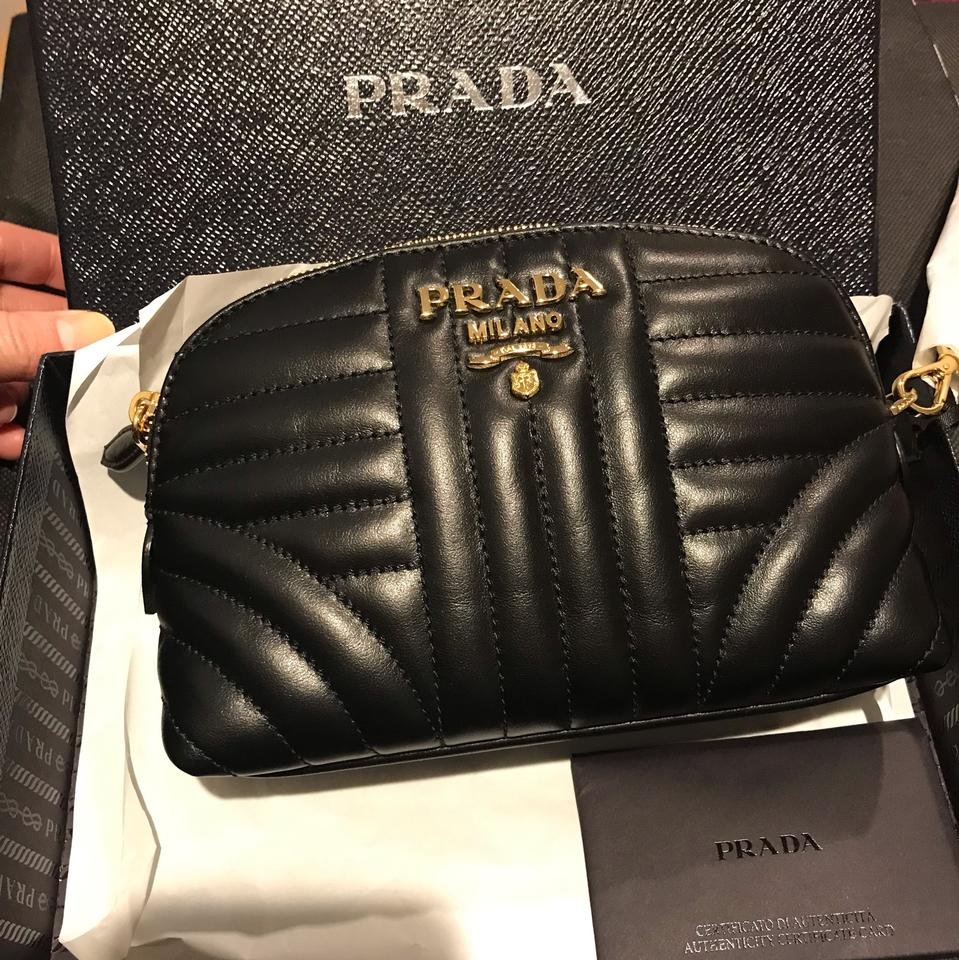 92eef84769d467 Prada Logo Quilted Pouch Black Leather Wristlet - Tradesy