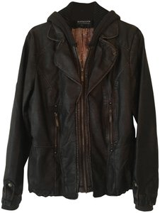 Montana Hooded Vegan Studding Brown Leather Jacket