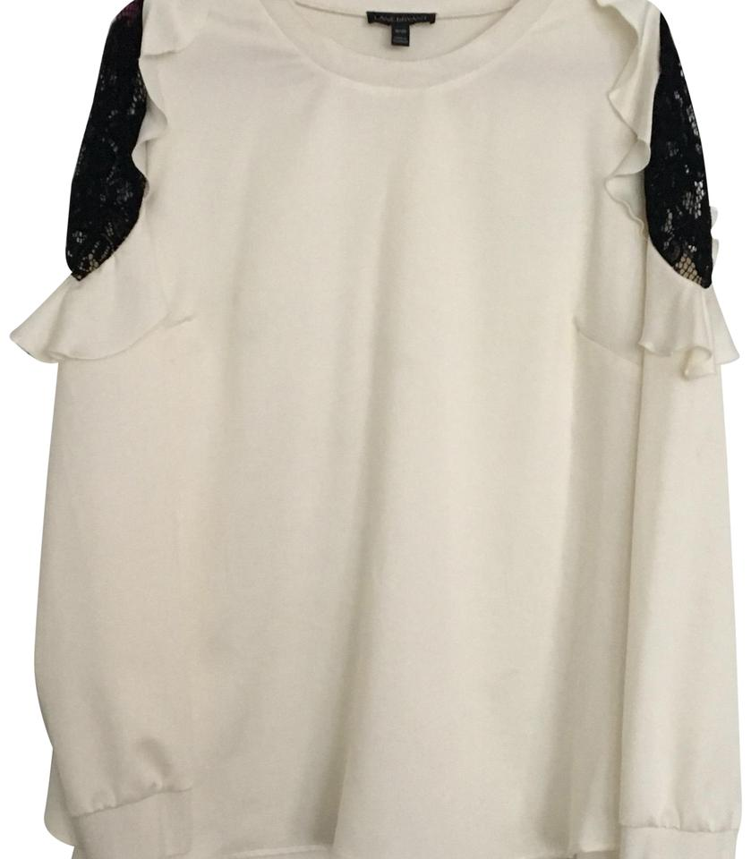 c93c67b757c0e3 Lane Bryant Bianca White Cold Shoulder Woven Sweatshirt Blouse Size ...