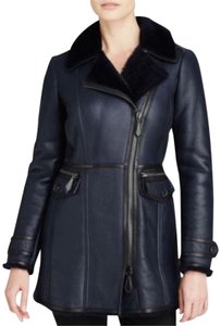 Burberry Lambskin Shearling Winter; Leather Leather Navy Jacket