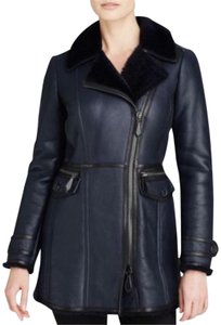 Burberry Lambskin Shearling Moto Biker Winter Navy Jacket