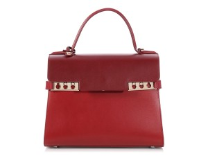 Delvaux Dx.p0904.14 Two-tone Gold Hardware Flap Satchel in Red