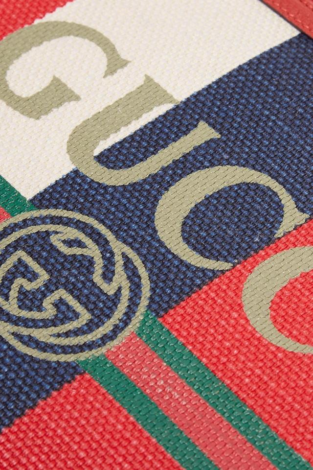 4fb3932f1b7 Gucci Printed Pouch - Navy Red and Cream Canvas Red Leather (Calf ...