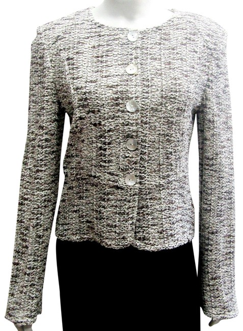 Item - Brown/Multi Boutique Tweed Cropped Classic Ivory Long Jacket Size 8 (M)
