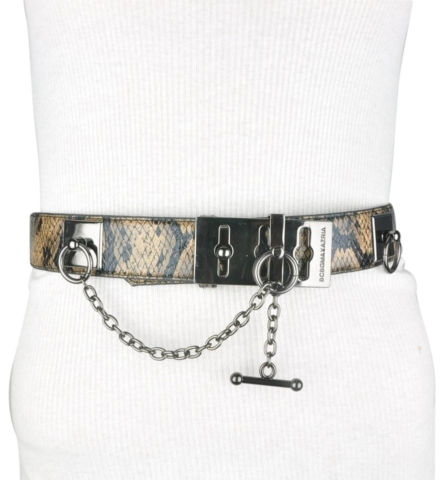 e4fab7bab BCBGMAXAZRIA BCBG Black Orange Faux Leather Snake Toggle Chain Belt Image 0  ...
