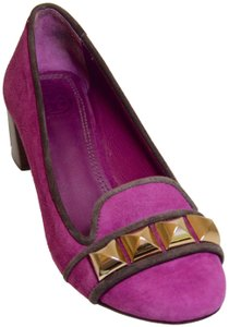 Tory Burch Round Toe All Leather Gold Metallic Suede Purple/Brown Pumps