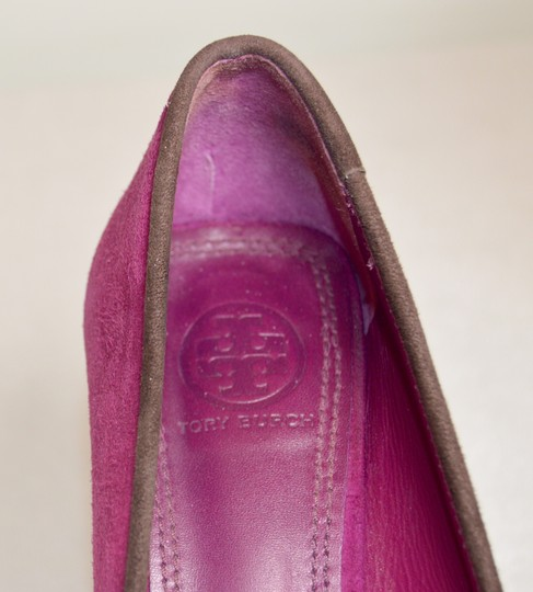 Tory Burch Round Toe All Leather Purple/Brown Pumps