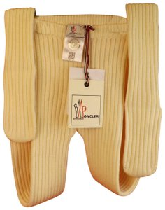 Moncler IVORY WOOL RIBBED KNITTED TIGHTS PANTYHOSE ONE SIZE $285 ITALY