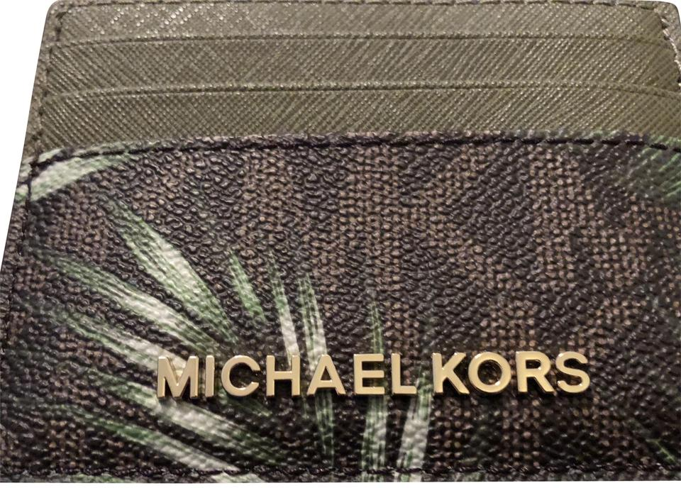 978117d4c45c Michael Kors Jet Set Jungle Palms--brown Green Card Holder Wallet ...