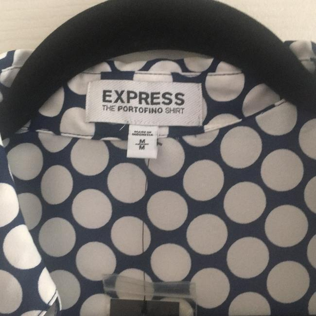 Express Top navy blue and white