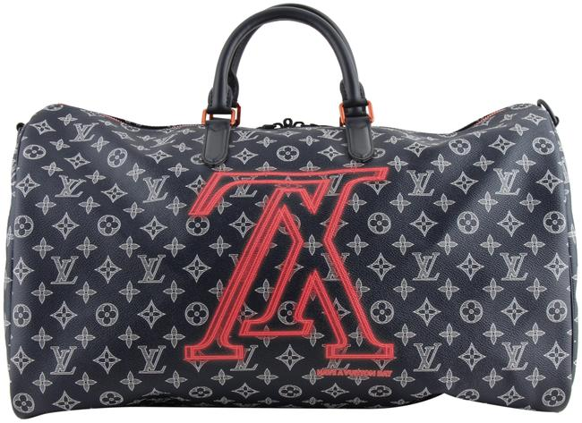 Louis Vuitton Keepall Monogram Ink Lv Upside Down Bandouliere 50 Blue Coated Canvas Weekend/Travel Bag Louis Vuitton Keepall Monogram Ink Lv Upside Down Bandouliere 50 Blue Coated Canvas Weekend/Travel Bag Image 1