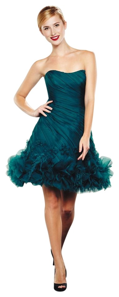 b718d4ec86d Theia Teal Strapless Shirred Bodice Silk Tulle By - 880971 Cocktail Dress
