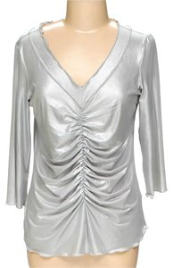 Essentials by Milano Rouched Top grey silver metallic