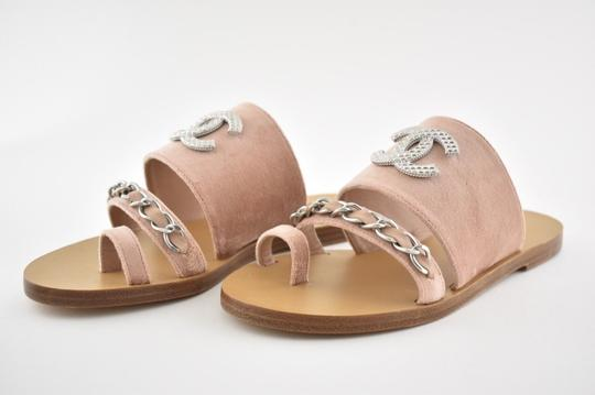 Chanel Flat Strappy Gladiator Chain pink Sandals