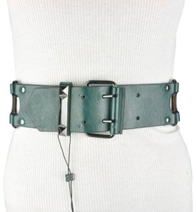 BCBGMAXAZRIA BCBG Green Faux Leather Wide Stretch Buckle Belt