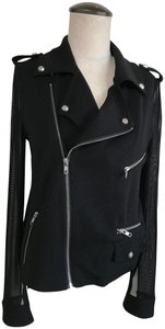 American Retro Sheer Zippers Poxkets Top Black