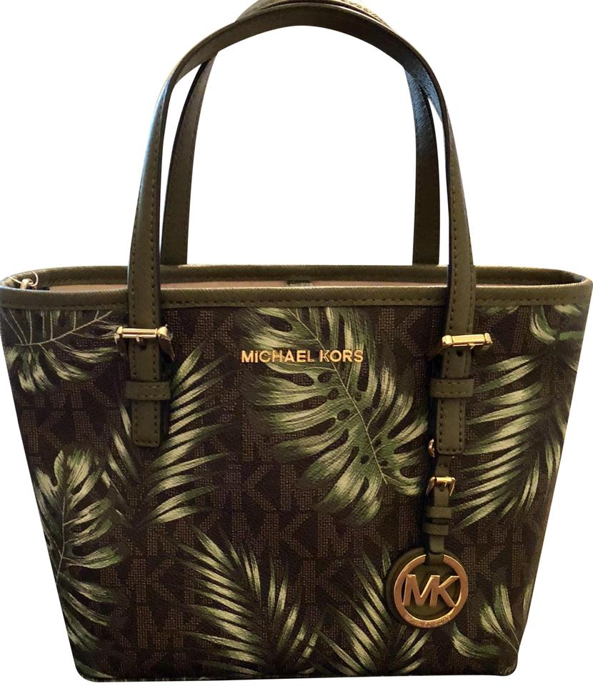 d326b0591b12 Michael Kors Jungle Palms Green Brown Mini-tote Cross Body Bag Image 0 ...