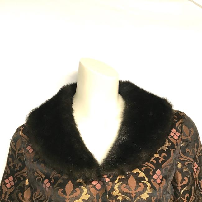Nine West Faux Fur Removable Trim Bell Sleeve Brown Blazer